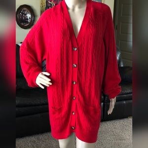 Land's End Red Cable Knit Cardigan Sweater 3X